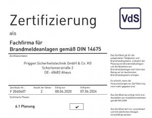 DIN14675 Zertifikat Priggen Ahaus